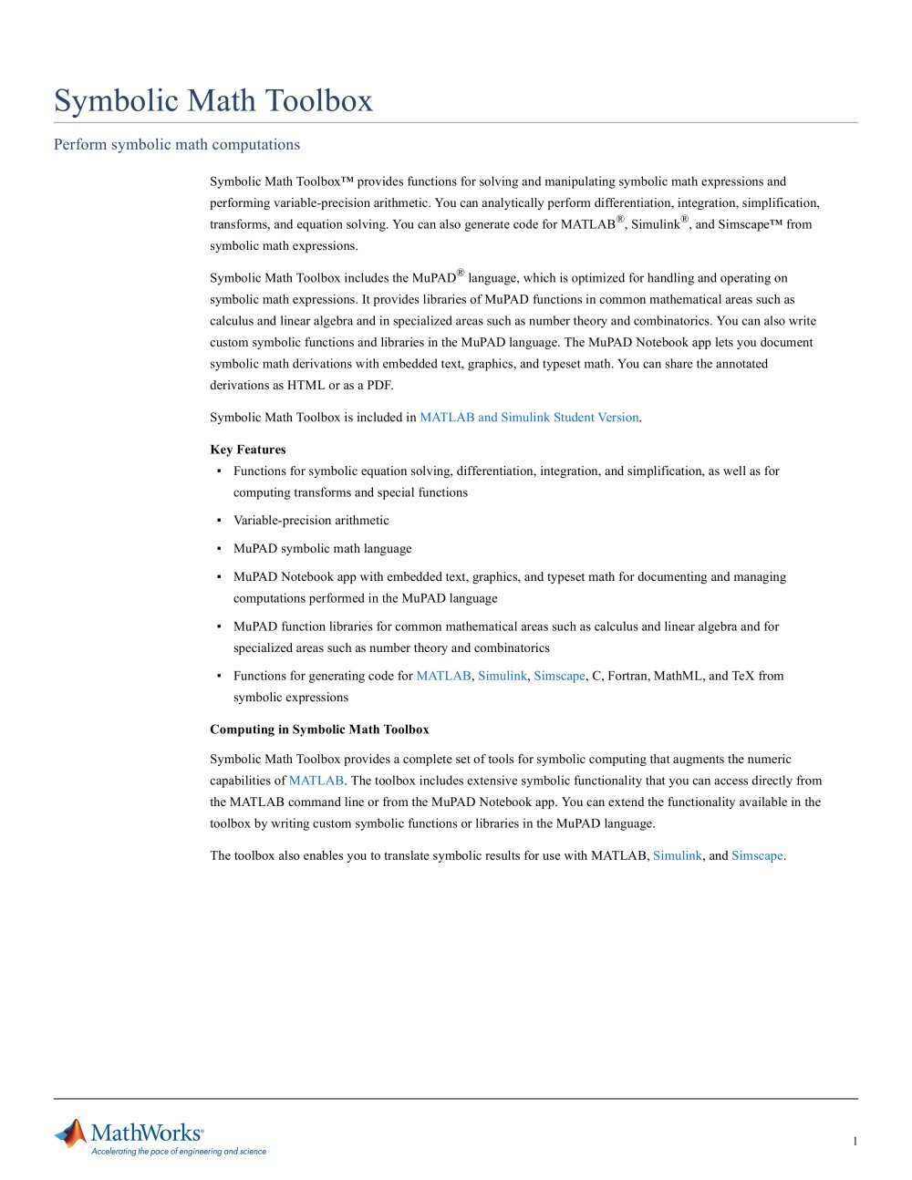Symbolic Math Toolbox The Mathworks Pdf Catalogue Technical