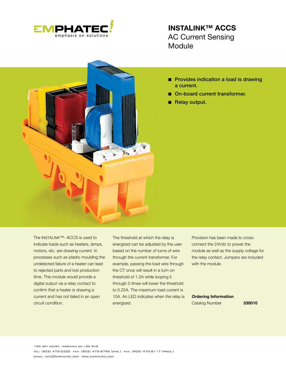 Accs Current Sensing Module Emphatec Pdf Catalogue Technical Relay Circuit 1 2 Pages