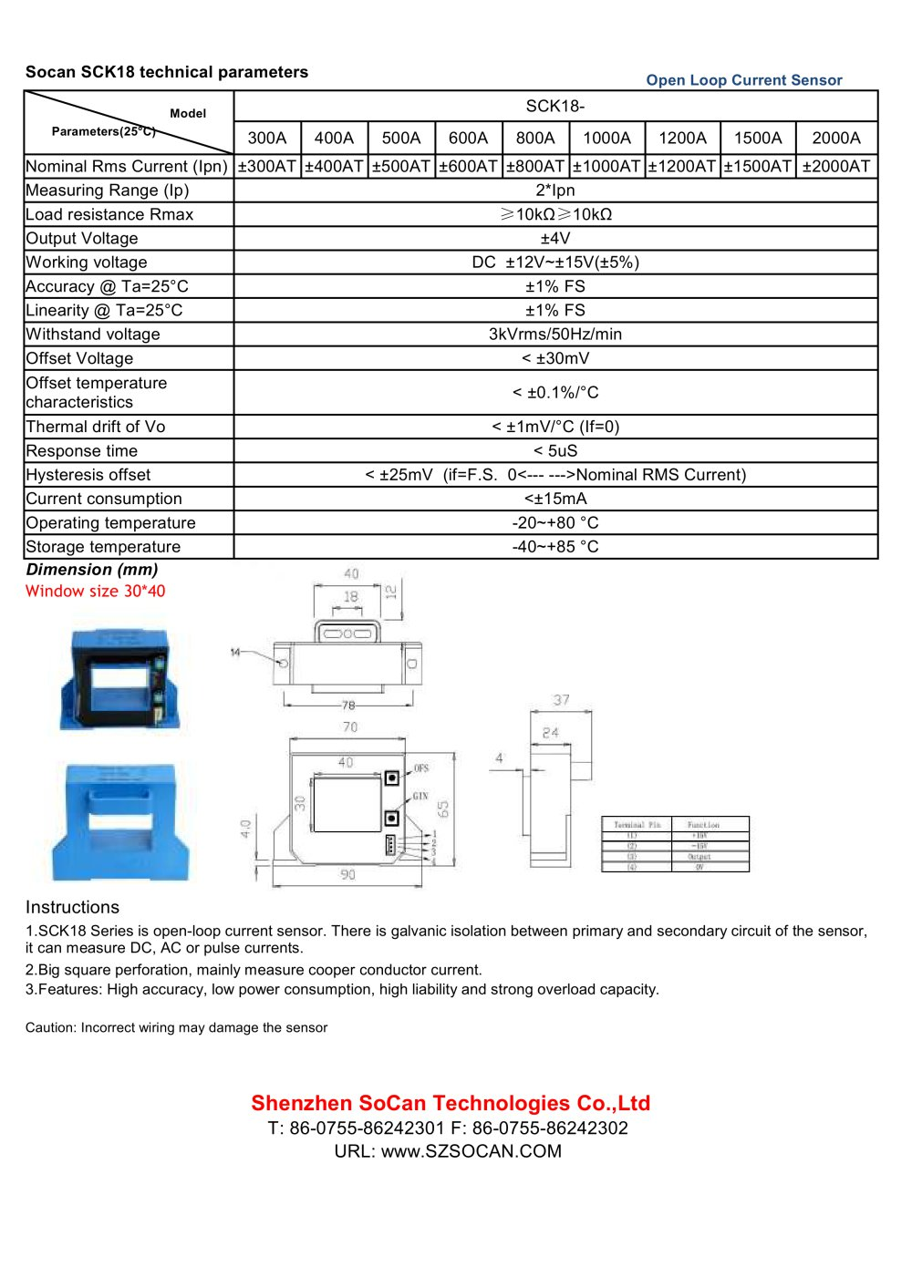 Open Loop Hall Effect Current Sensor 30 40 Mm 300 2000 A Wiring Diagram Sck18 Series 1 Pages