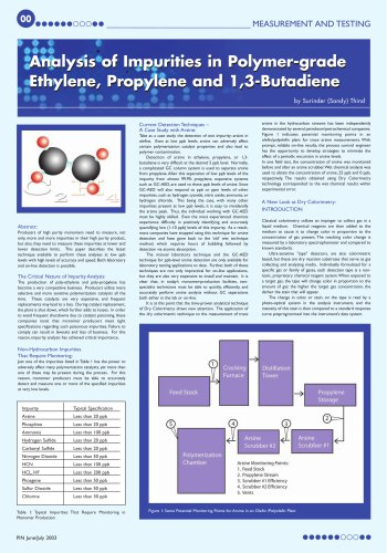 Analysis of Impurities in Polymer-grade Ethylene, Propylene and 1,3-Butadiene