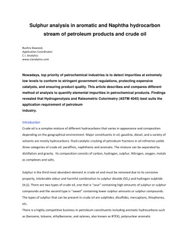 Sulphur Analysis in Aromatic and Naphtha Hydrocarbon Stream of Petroleum Products and Crude Oil