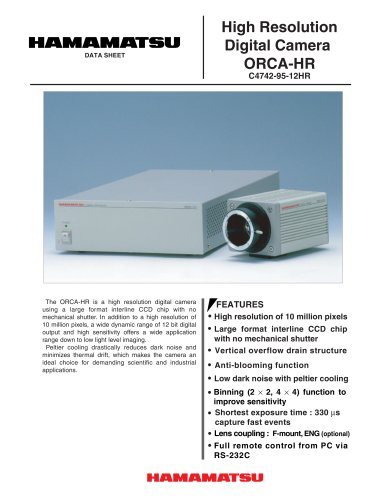 Digital CCD Cameras, ORCA-HR - HAMAMATSU - PDF Catalogs