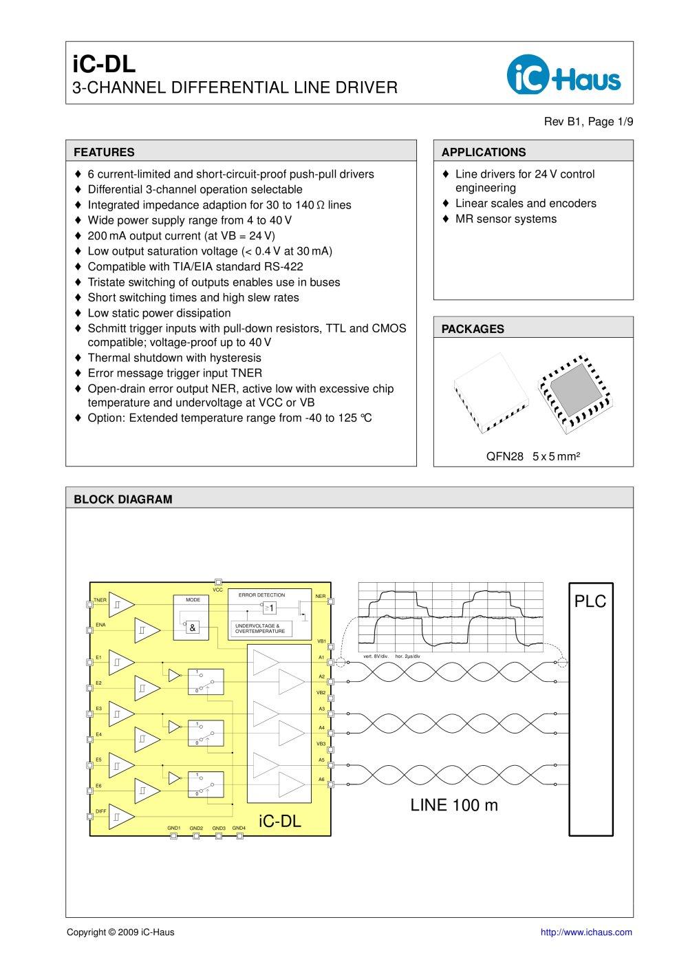 Ic Dl 3 Channel Differential Line Driver Haus Pdf Catalogue 8 Encoder Logic Diagram 1 9 Pages