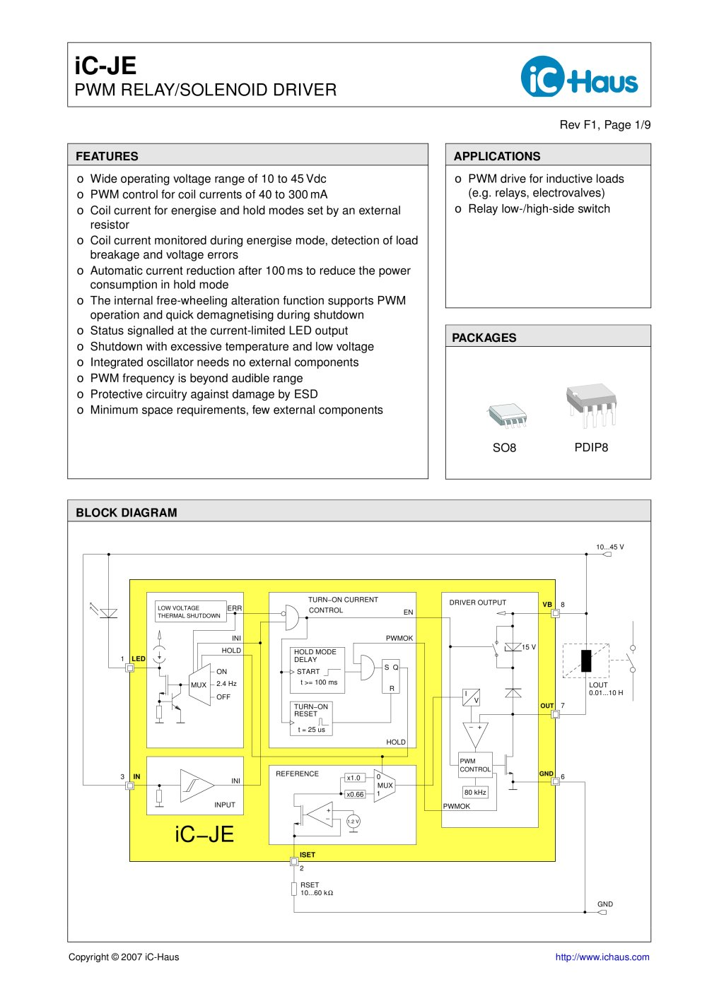 Ic Je Power Saving Pwm Relay Solenoid Driver Haus Pdf Basic Circuit 1 9 Pages