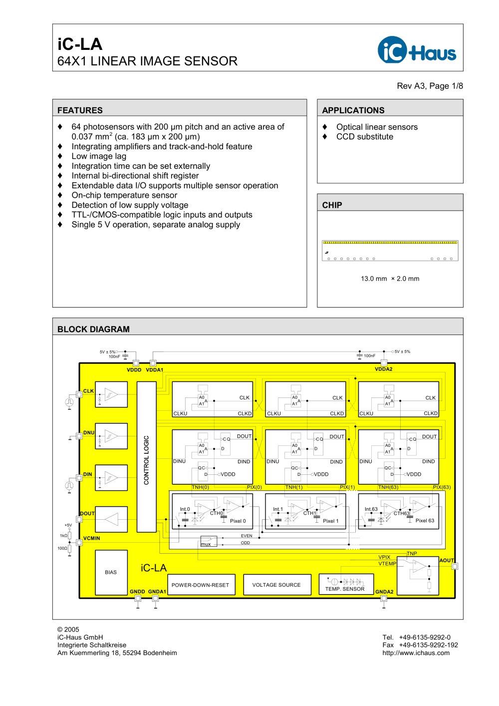 iC-LA 64x1 Linear Image Sensor with Bidirectional Shift and ...