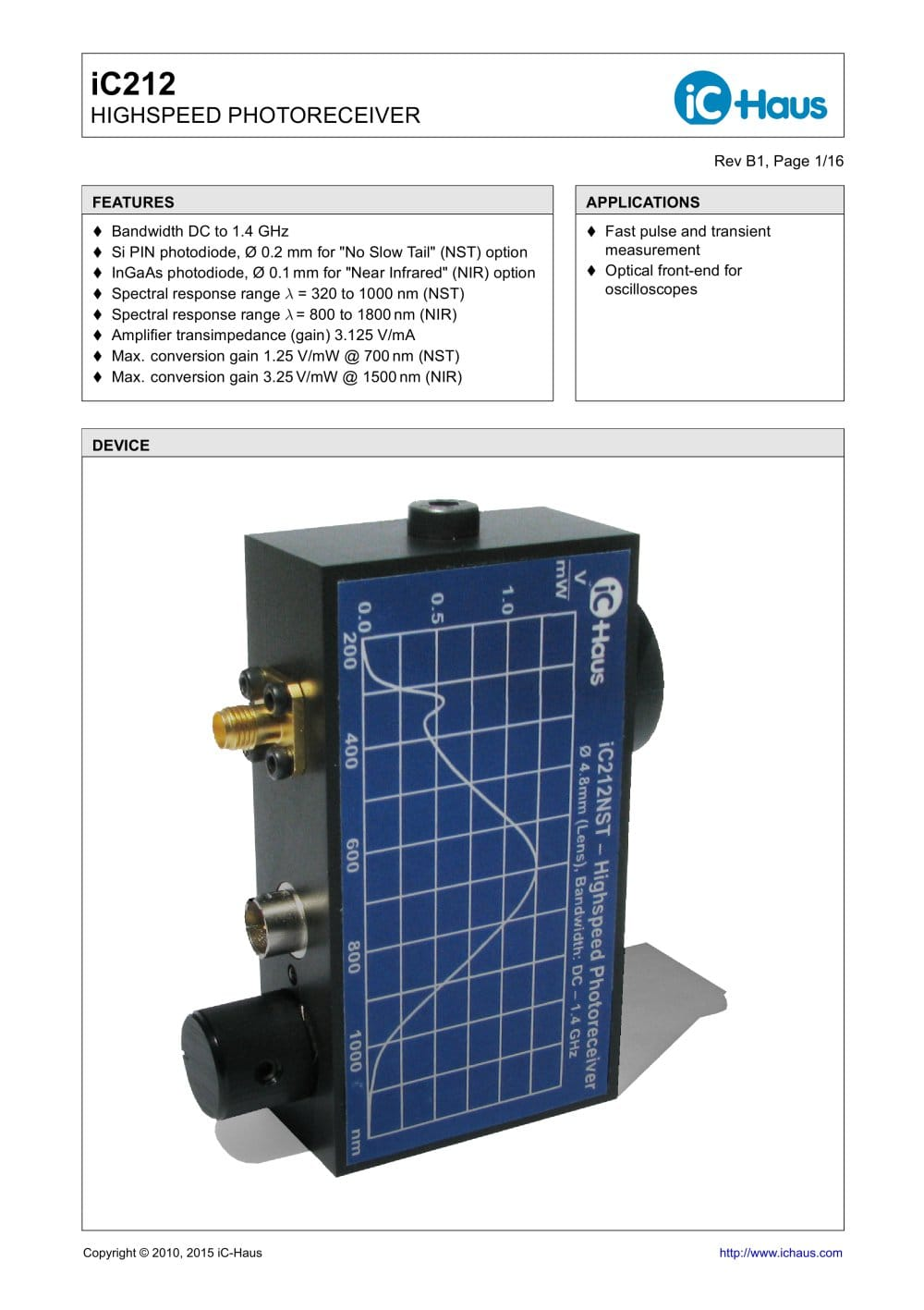 Ic212 Highspeed Photoreceiver Ic Haus Pdf Catalogue Technical Photodiodes Signal Conditioning 1 16 Pages