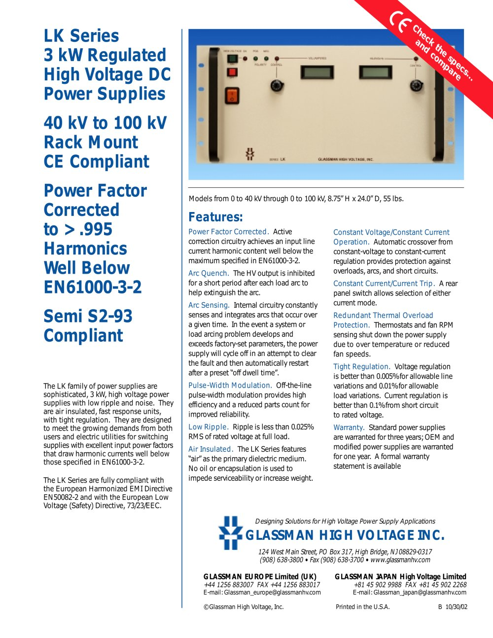 Lk Series 3 Kw Regulated High Voltage Dc Power Supplies Glassman Current Supply 1 4 Pages