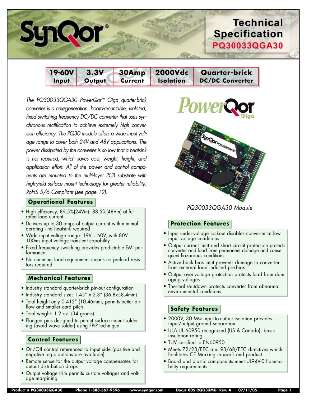 Pq30 Series Synqor Pdf Catalogs Technical Documentation Brochure Active Current Limiting Or Shortcircuit Protection 1 14 Pages
