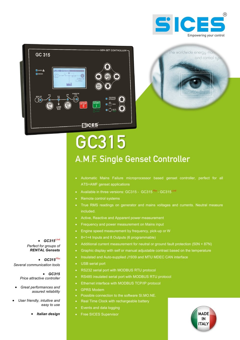 Gc315 Controller For Amf Genset Sices Pdf Catalogue Wiring Panel Ats 1 4 Pages