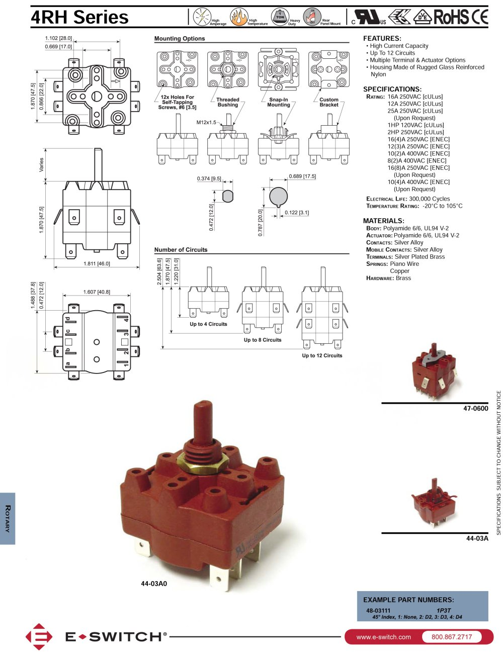 4rh Series High Current Capacity Rotary Switches E Switch Pdf Vandal Wiring Diagram 1 Pages