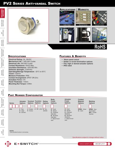 PV2 Series Water Resistant, Long Life Anti-vandal Switches