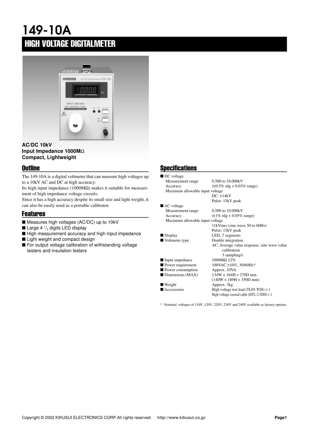 149 10a High Voltage Digital Voltmeter Ac Dc 10kv Kikusui Voltmeters 1 Pages