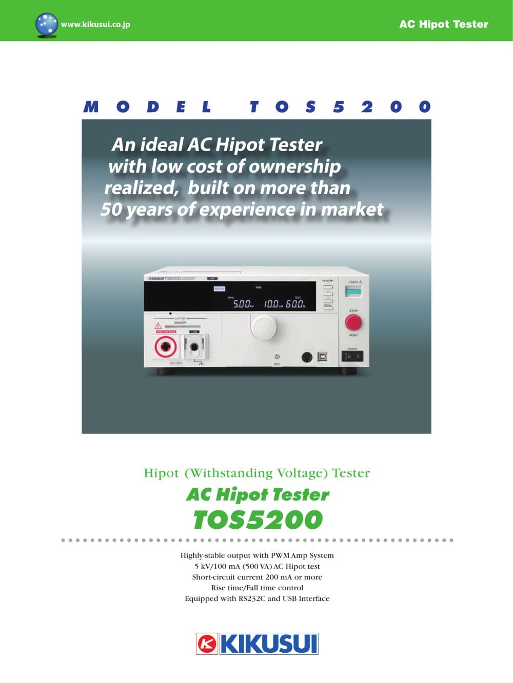 Tos5200 Hipot Tester Kikusui Electronics Pdf Catalogue Short Circuit 1 8 Pages