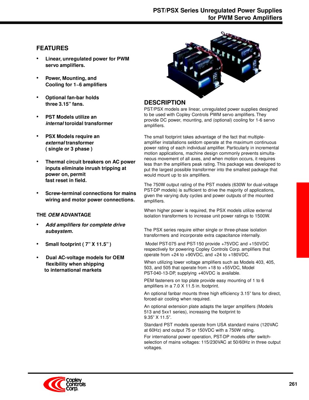 Power Supply Subsystem Copley Controls Pdf Catalogue Technical Unregulator 1 8 Pages