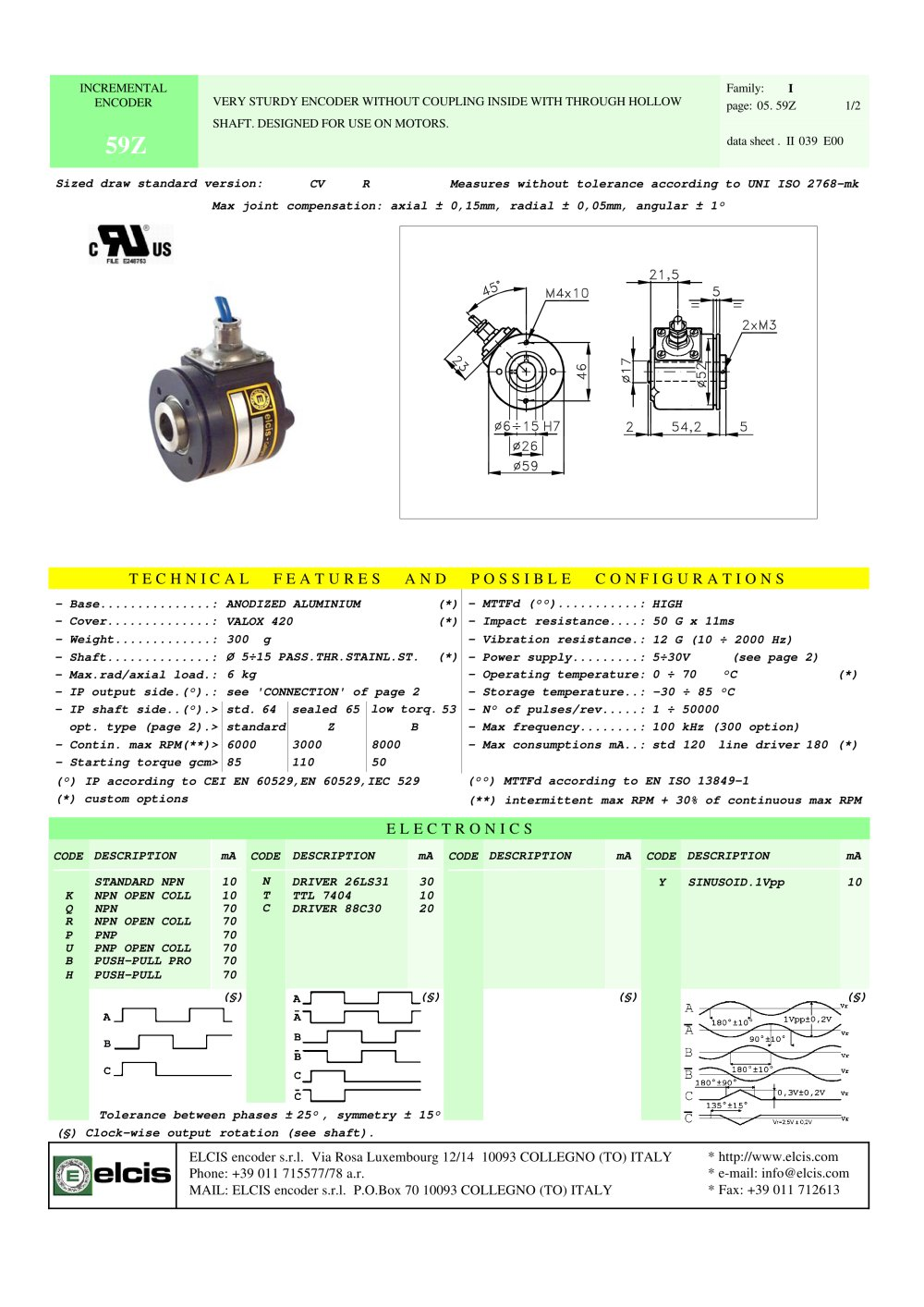 INCREMENTAL ENCODER 59Z - 1 / 2 Pages