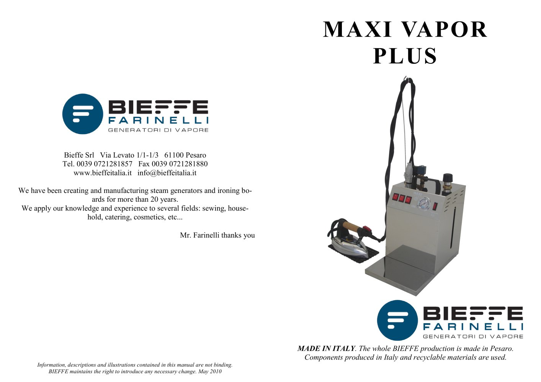 MAXI VAPOR PLUS - Bieffe italia - PDF Catalogue | Technical ...