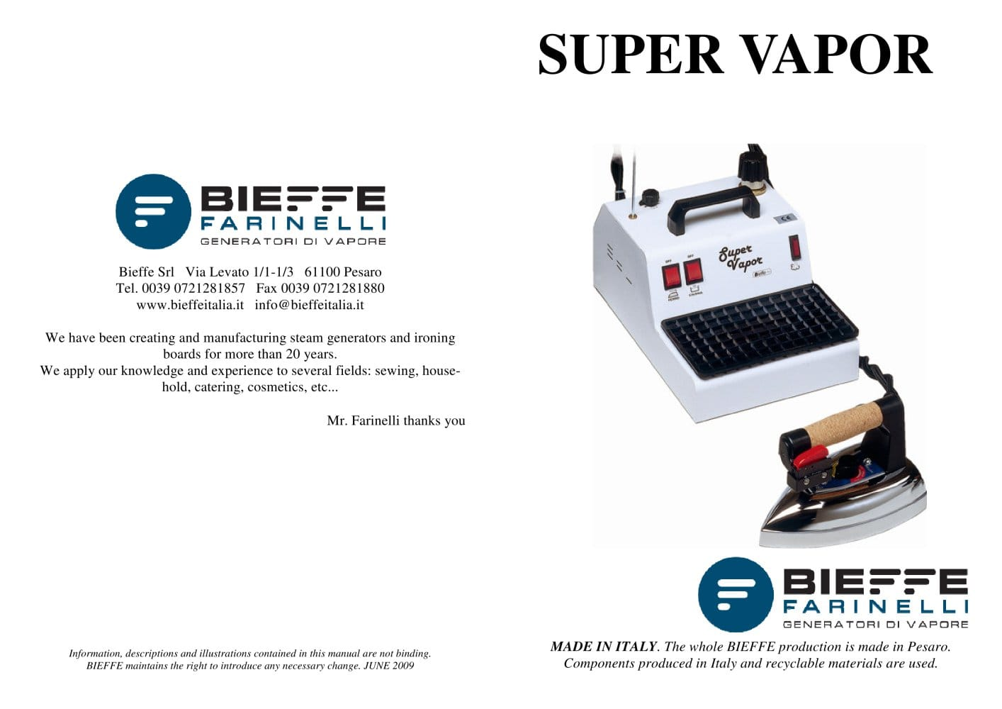 Super Vapor - Bieffe italia - PDF Catalogue | Technical ...