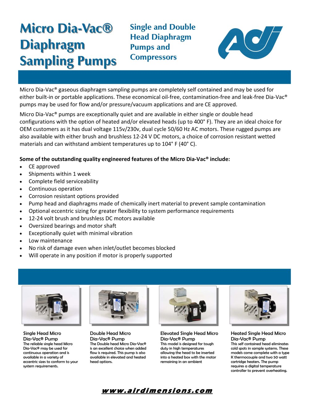 Micro dia vac diaphragm sampling pumps air dimensions incorpor micro dia vac diaphragm sampling pumps 1 2 pages ccuart Gallery