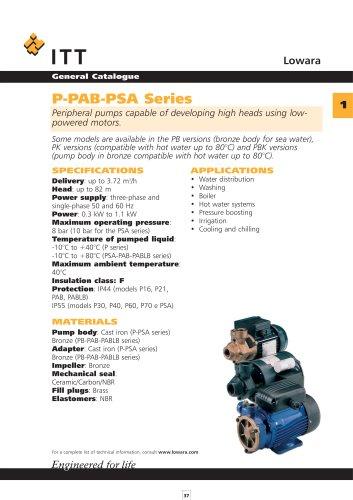 Lowara catalogue 50 Hz Surface Pumps