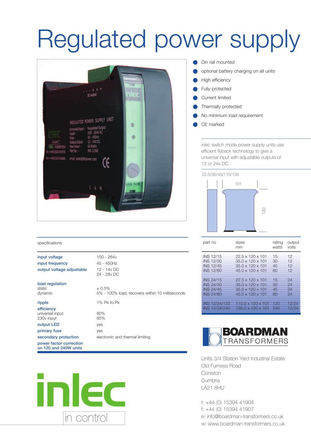 Inlec Power Supply Boardman Transformers Pdf Catalogue Without Transformer 1 Pages