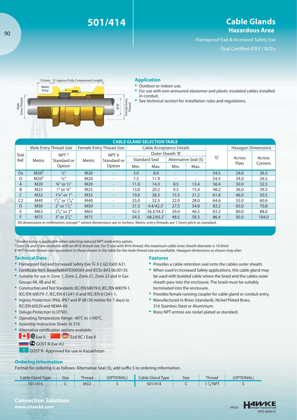 501/414 Cable Gland - Hawke - PDF Catalogue | Technical ...