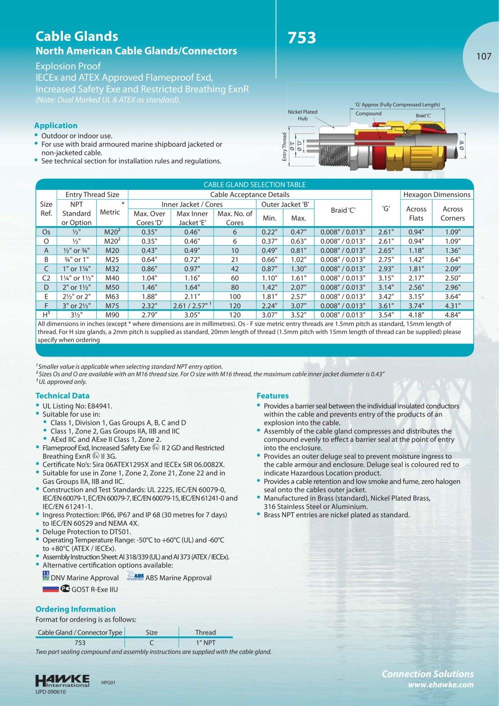 753 Cable glands - Hawke - PDF Catalogue   Technical Documentation ...