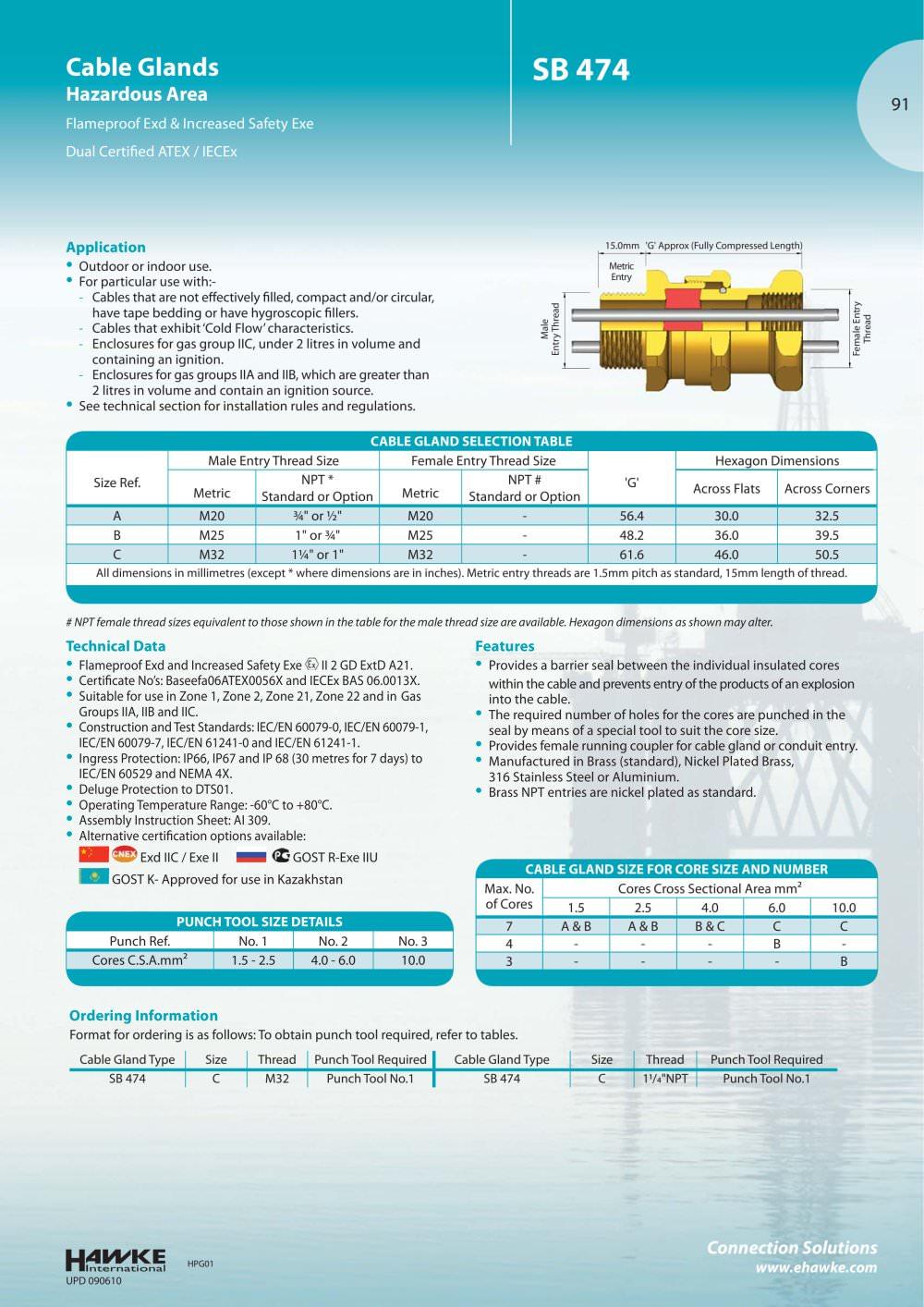 SB 474 Cable glands - Hawke - PDF Catalogue | Technical ...