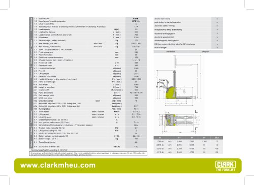Specification sheet CLARK C PS 12L
