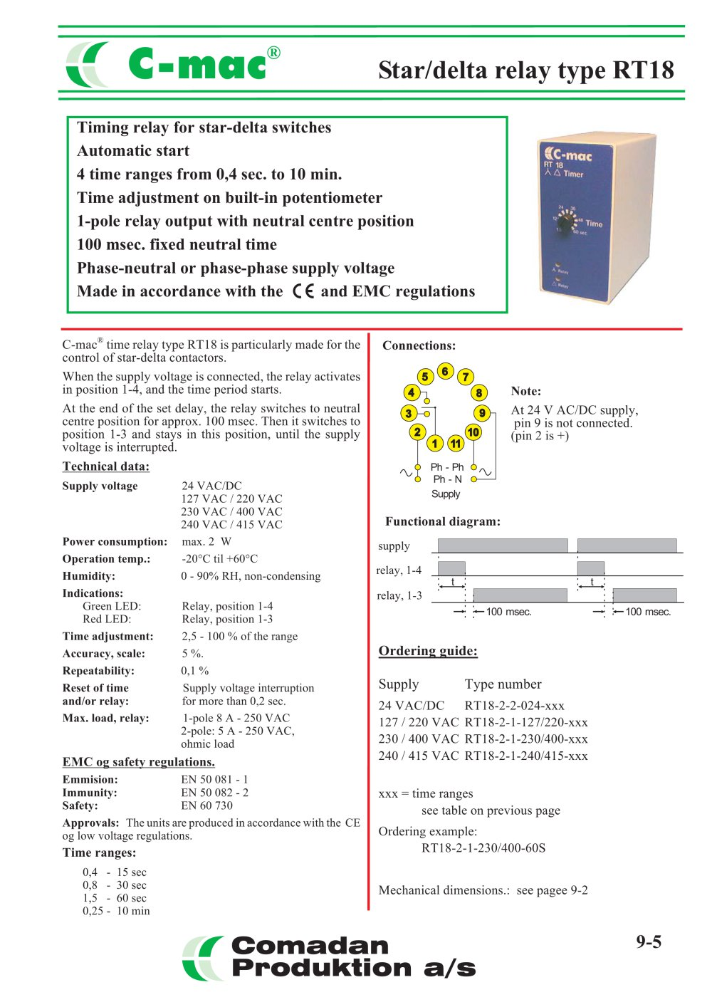 Rt18 Star Delta Relay Comadan Pdf Catalogue Technical Wiring Diagram Together With On Pin 1 Pages