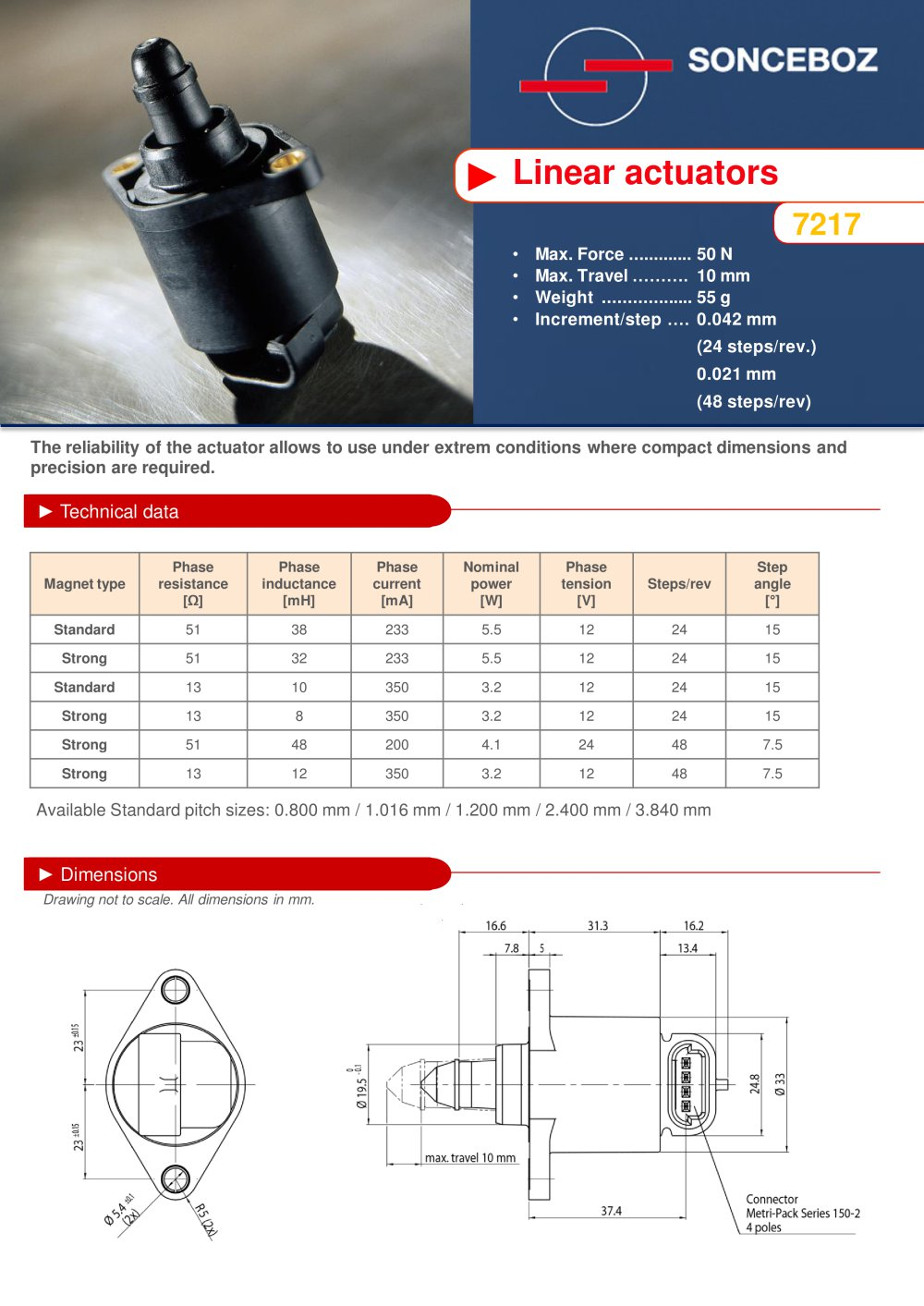 Linear Actuator 7217 Sonceboz Pdf Catalogue Technical 24 Volt Wiring 1 2 Pages