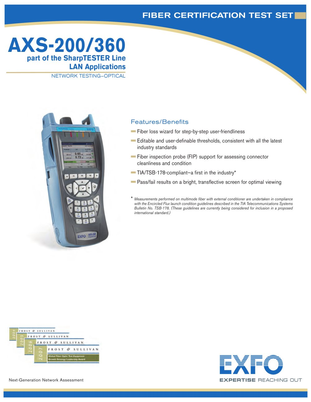 Axs 200360 Fiber Certification Test Set Exfo Pdf Catalogue