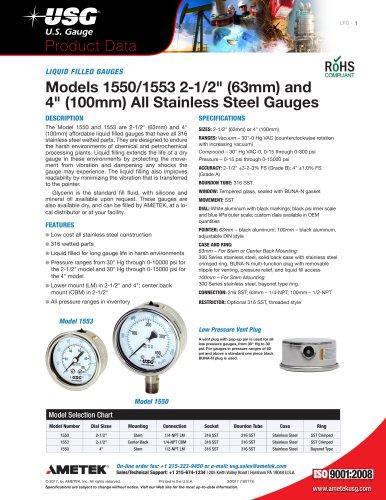 LIQUID FILLED GAUGES Models 1550/1553 2-1/2