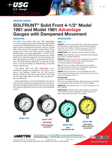 "SOLFRUNT ®  Solid Front 4-1/2"" Model  1981 and Model 1981  Advantage Gauges with Dampened Movement"