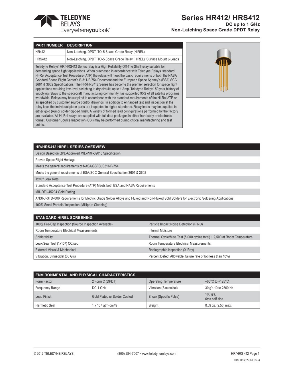 Series Hr412 Hrs412 Teledyne Relays Pdf Catalogue Technical Relay Coil Pickup Voltage 1 10 Pages