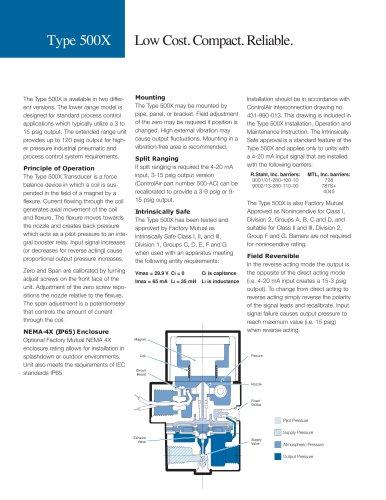 T500 Electropneumatic Transducer (I/P, E/P)