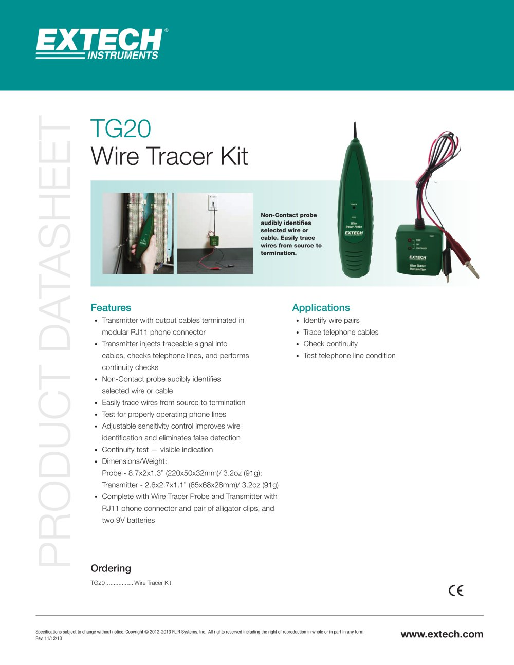 TG20: Wire Tracer Kit - Extech - PDF Catalogue | Technical ...