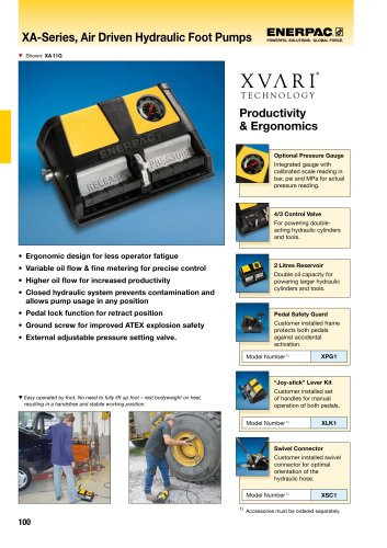 XA-Series, Air Driven Hydraulic Foot Pumps