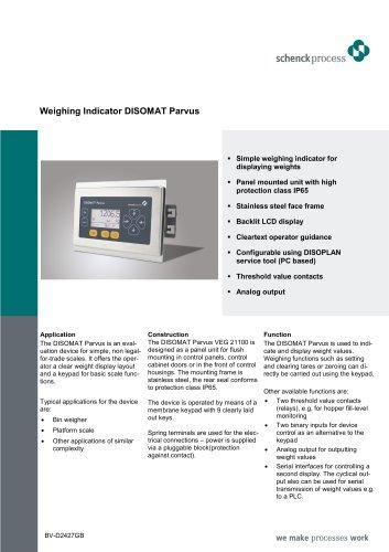 weighing indicator disomat parvus schenck process europe gmbh rh pdf directindustry com User Manual PDF disomat opus service manual