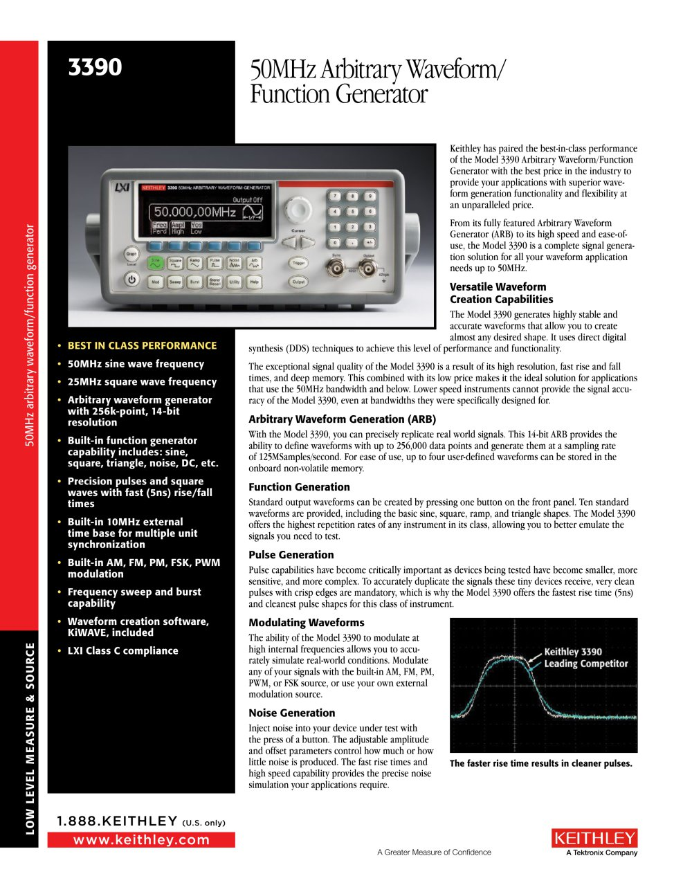 Model 3390 50mhz Arbitrary Waveform Function Generator Keithley 1 4 Pages