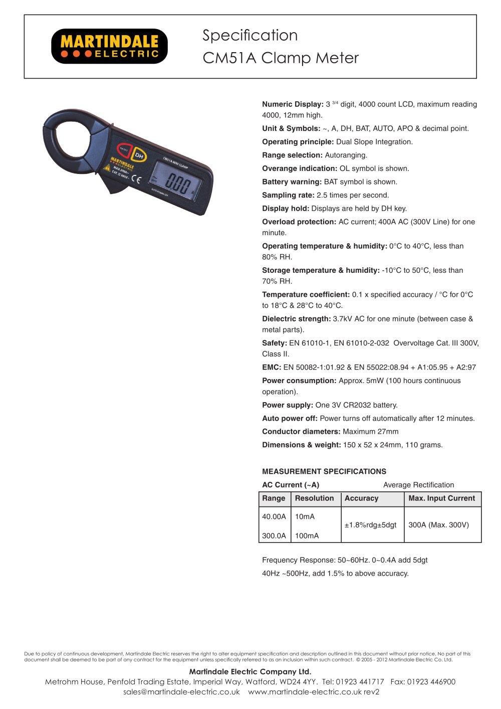 Clamp Meter:Martindale CM51A 300A AC Mini - Martindale Electric ...