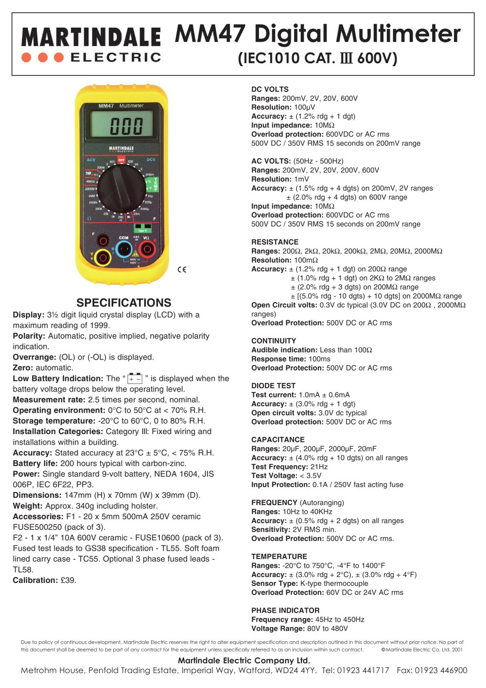 Electricians Digital Multimeter Martindale Electric Pdf At Low Frequencies A Capacitor Acts Like An Open Circuit For Ac And Add To Mydirectindustry Favorites