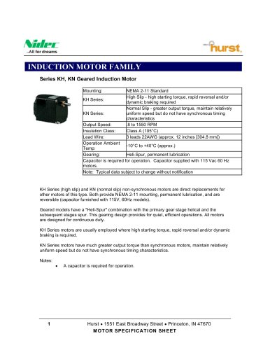 KH, KN Geared Induction Motor - Hurst - PDF Catalogs | Technical
