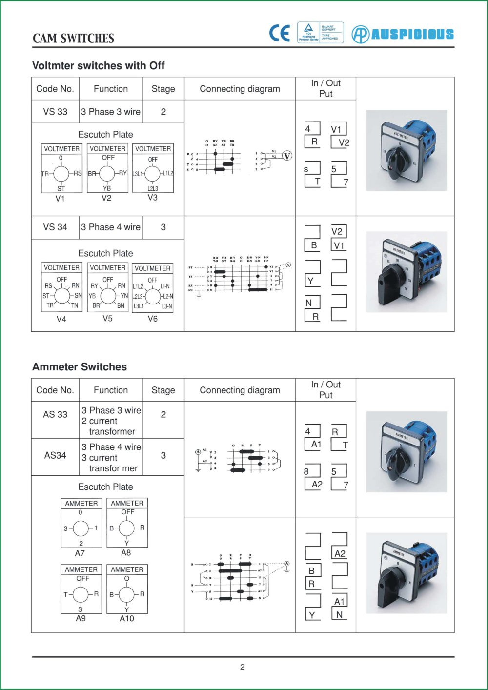 E 02 Cam Switches Auspicious Electrical Engineering Co Ltd Ammeter Wiring Diagram With Ct 1 Pages