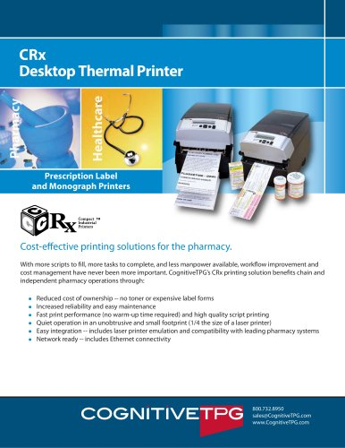 CRx Desktop Thermal Printer - Cognitive - PDF Catalogs | Technical