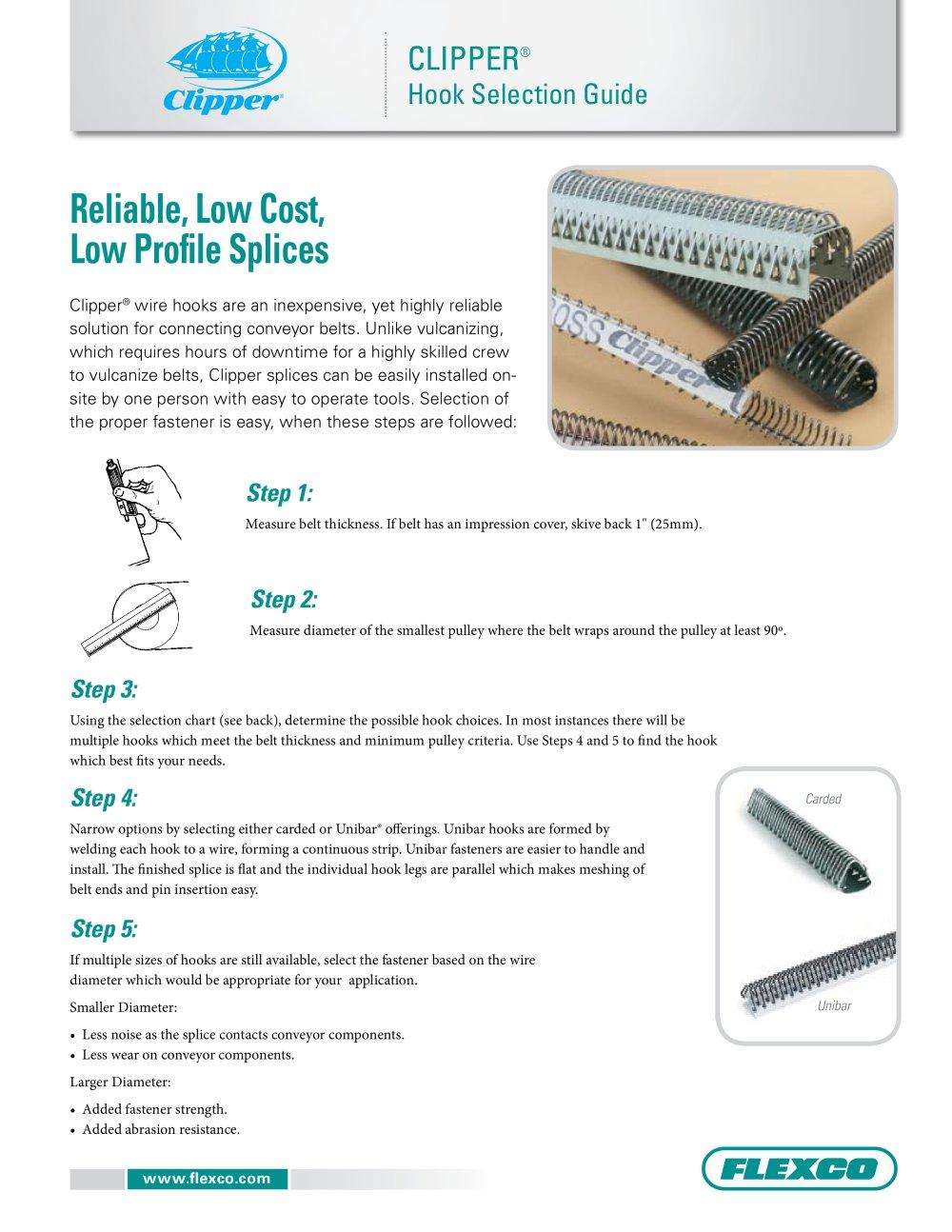 Clipper® Hook Selection Guide - FLEXCO - PDF Catalogue   Technical ...