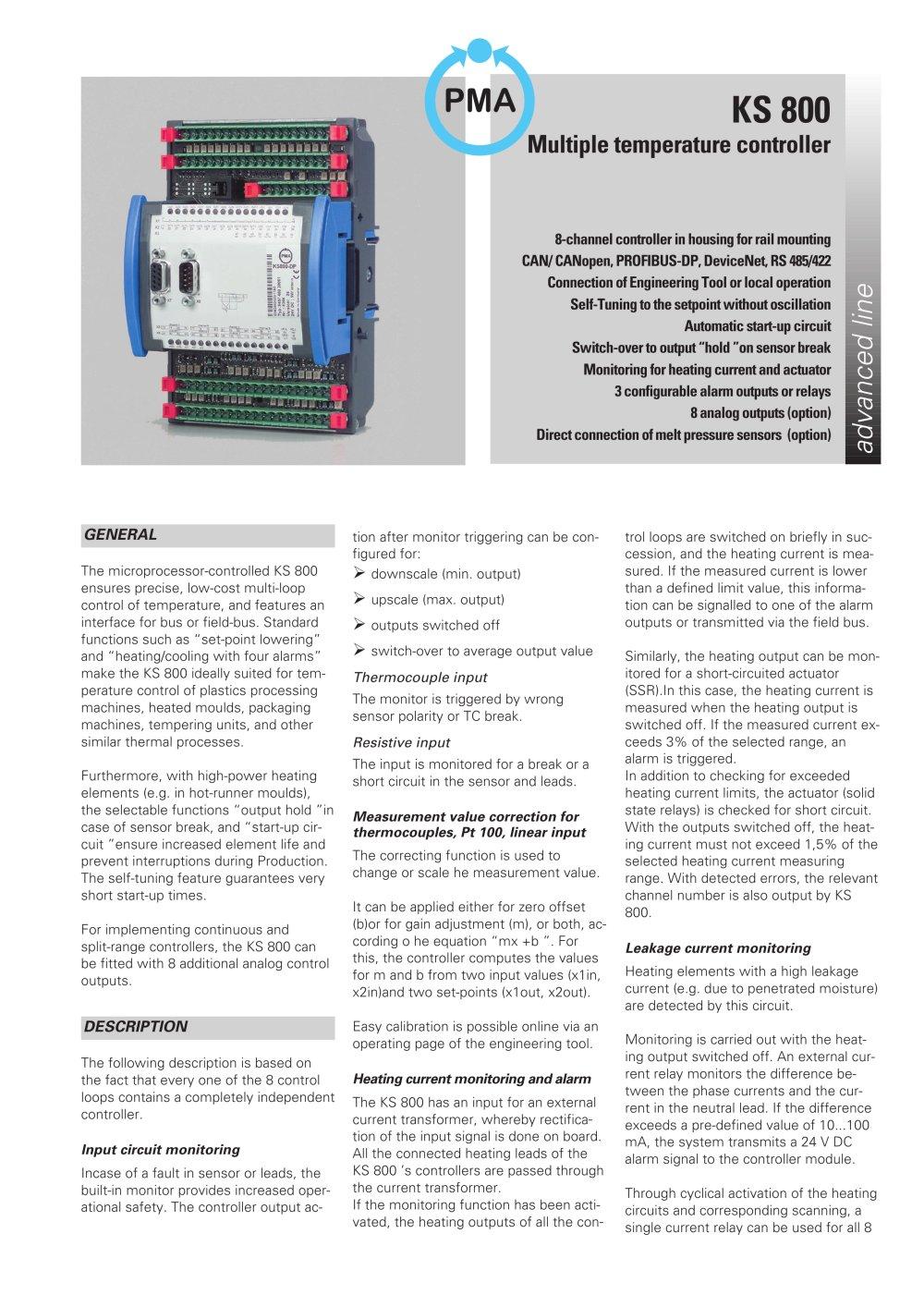 Ks 800 Multiple Temperature Controller West Control Solutions Heat Sensor Automatic 1 6 Pages