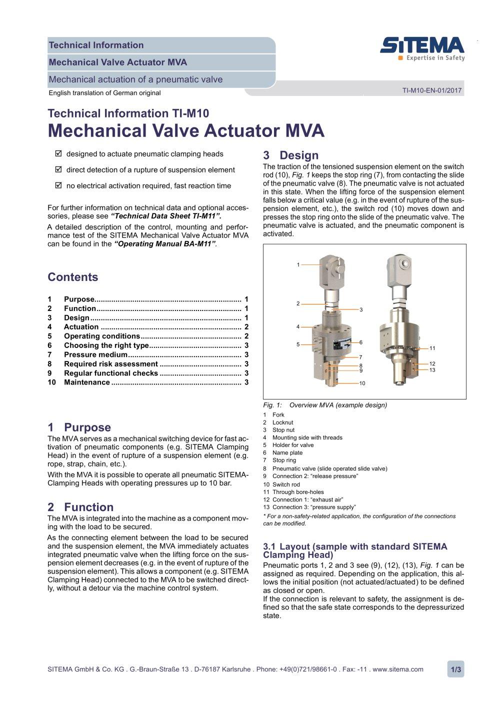 Ti M10 Mechanical Valve Actuator Mva Sitema Pdf Catalogue