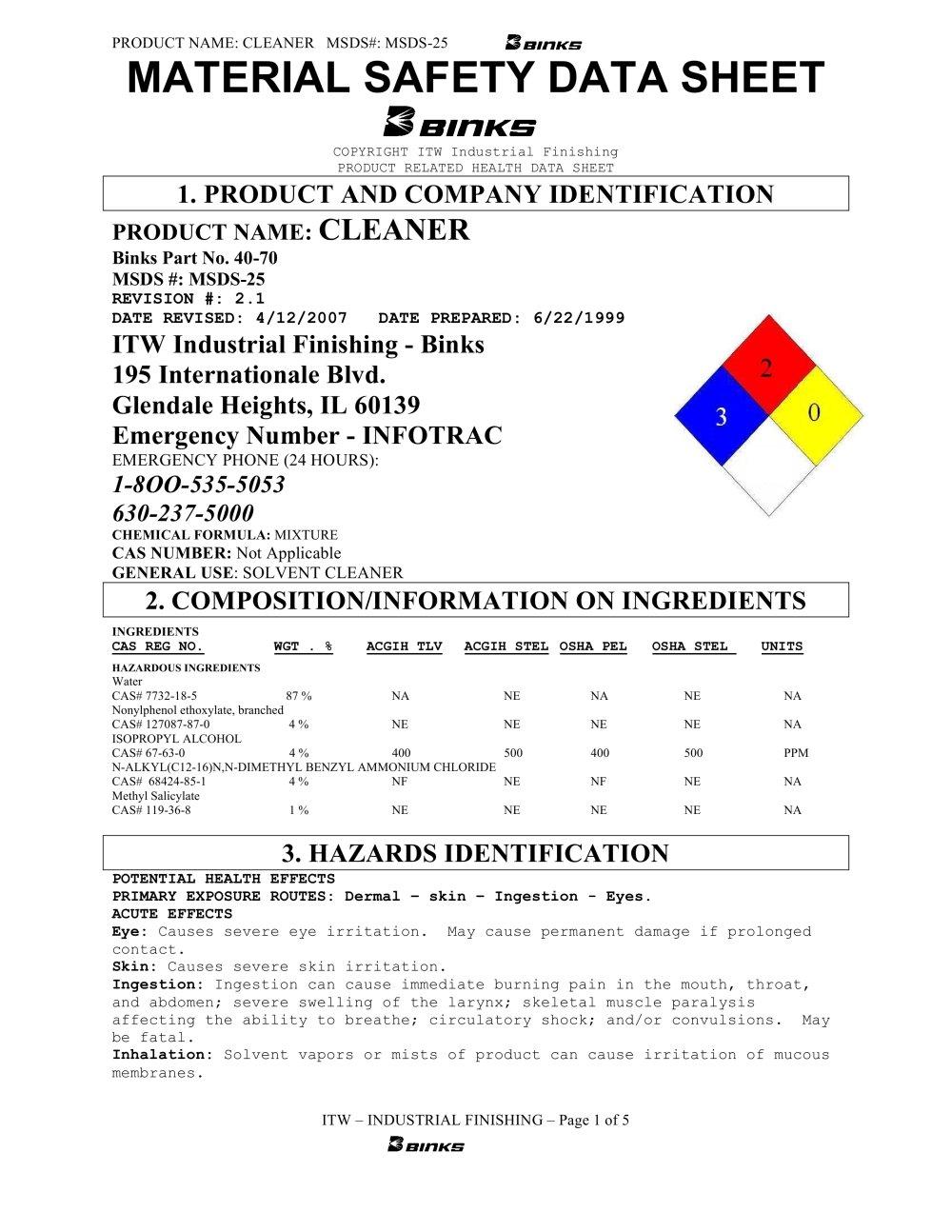 Cleaner Binks Catalogs Technical Documentation Brochure Jpg 1000x1294 Alcohol Msds