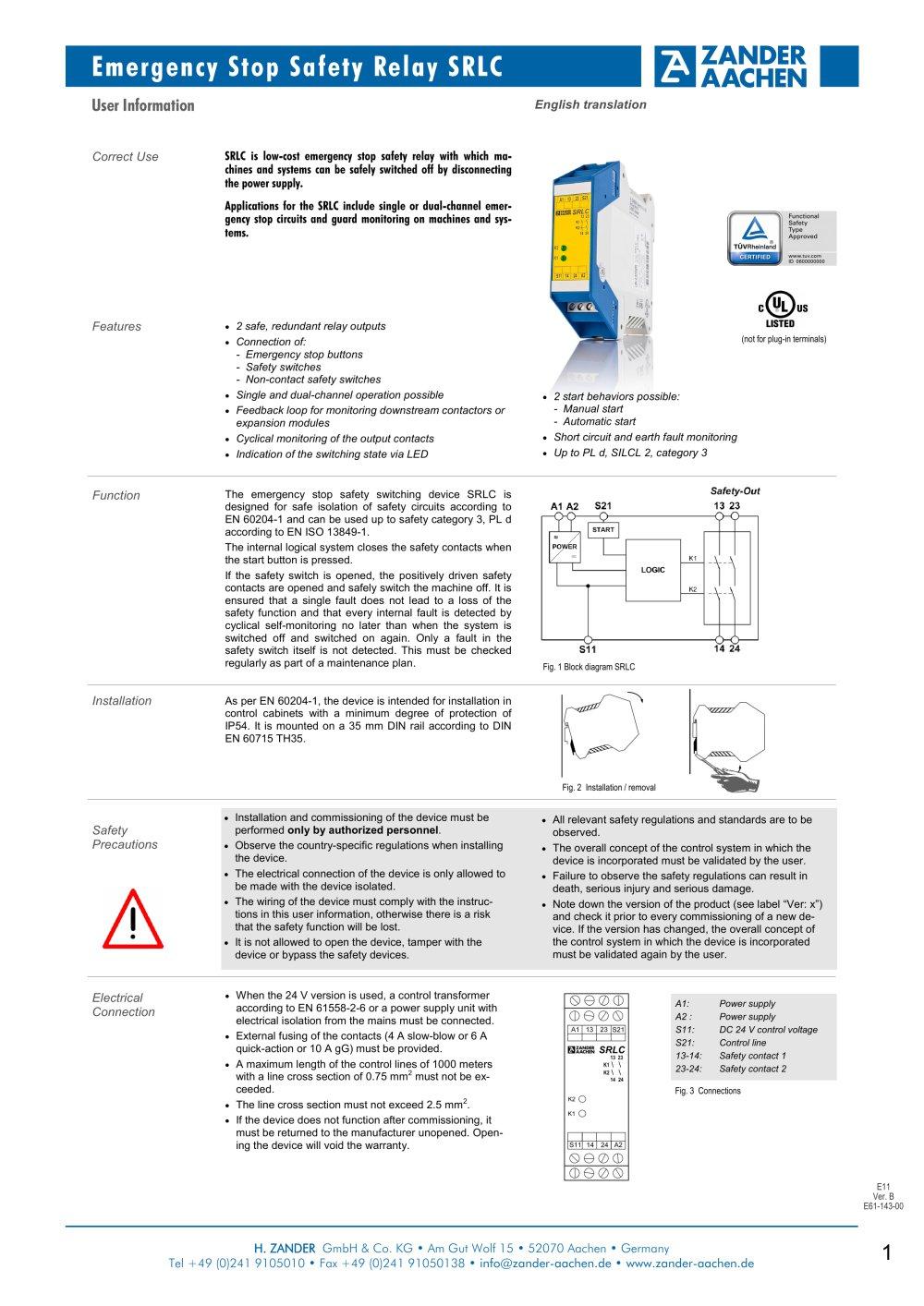 Monitoring Safety Relay Wiring Diagram Schematic Diagrams Switch Srlc Zander Gmbh Co Kg Hermann Pdf Catalogue Pump Pressure
