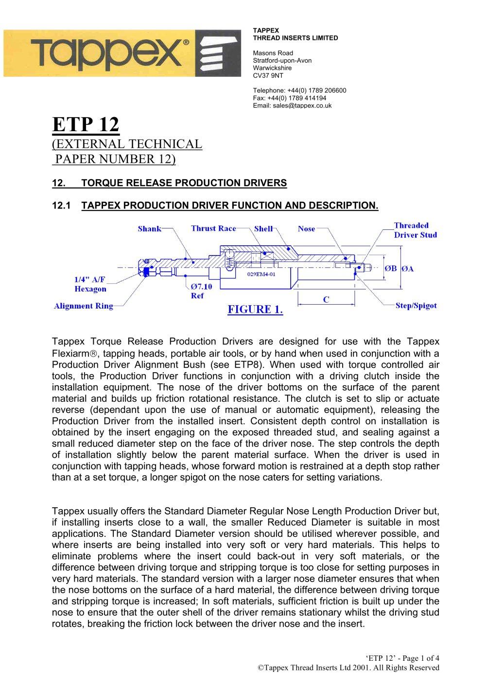 Etp Stock Quote Etp 12  Tappex  Pdf Catalogue  Technical Documentation  Brochure